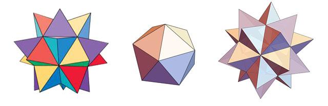 学会了一个单元的折法,下面要开始更需要技巧的拼插环节了。我们先来看一下两个单元是怎么拼接到一起的。Spikey 的拼接需要先把单元折叠一下,像下图那样,把它对半折成等边三角形,并把三角形两边两个多余的部分一前一后折叠。拼插的时候,把一个单元的触手伸进另一个单元的夹层构成的口袋里,推到尽头。拼接完成后是下图最右边那样。  Spikey 1 的颜色挺多的,我尽量还原了它的配色,准备了紫色、红色、黄色、蓝色四种颜色(因为纸不够,每个颜色用了深浅两种凑数,大家没必要这样)。每个颜色 8 张就足够了,最后总共只需